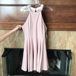 Short homecoming dress w/ rhinestones and pockets